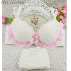 Белый комплект с розовой отделкой  Бюстгальтер и трусики