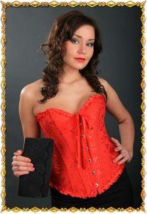 Красный корсет Милая на бюске
