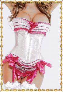 Белый корсет с розовой отделкой