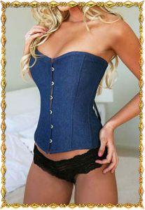 Корсет джинсовый синий